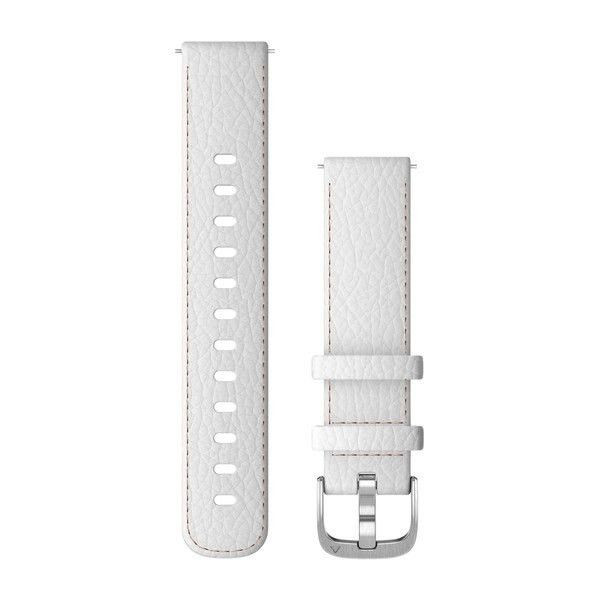 Řemínek Quick Release 18mm, kožený bílý, stříbrná přezka