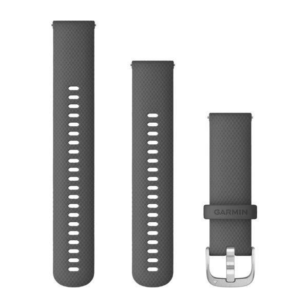 Řemínek Quick Release 22mm, tmavě šedý, stříbrná přezka
