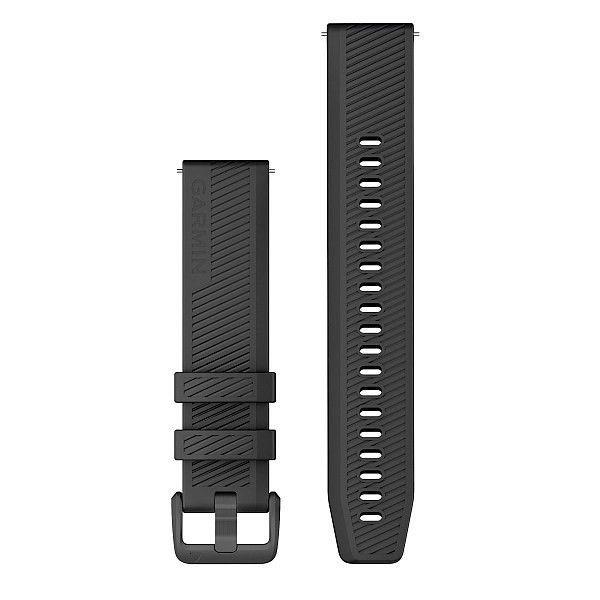 Řemínek Quick Release 20mm, černý silikon, tmavá přezka