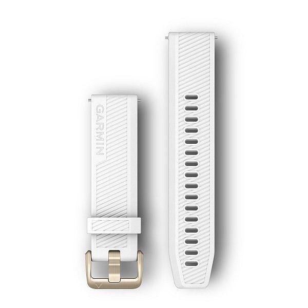 Řemínek Quick Release 20mm, silikonový bílý, golfový, zlatá přezka