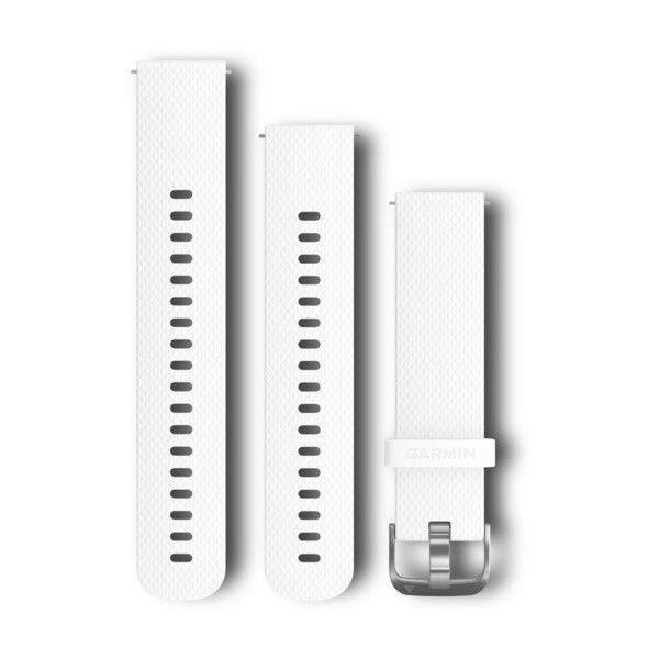 Řemínek Quick Release 20mm, silikonový bílý, stříbrná přezka