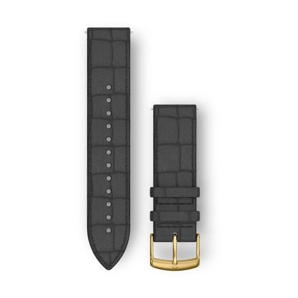 Řemínek Quick Release 20mm, kožený černý, zlatá přezka