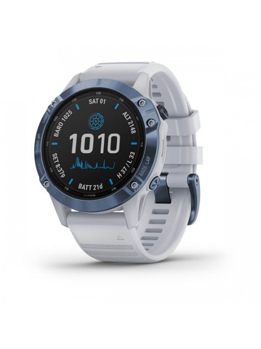 Garmin fenix6 PRO Solar, Titanium Blue/White Band (MAP/Music)