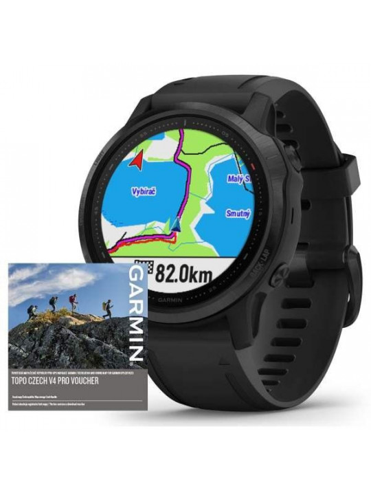 Garmin fenix6S PRO Glass, Black/Black Band (MAP/Music)