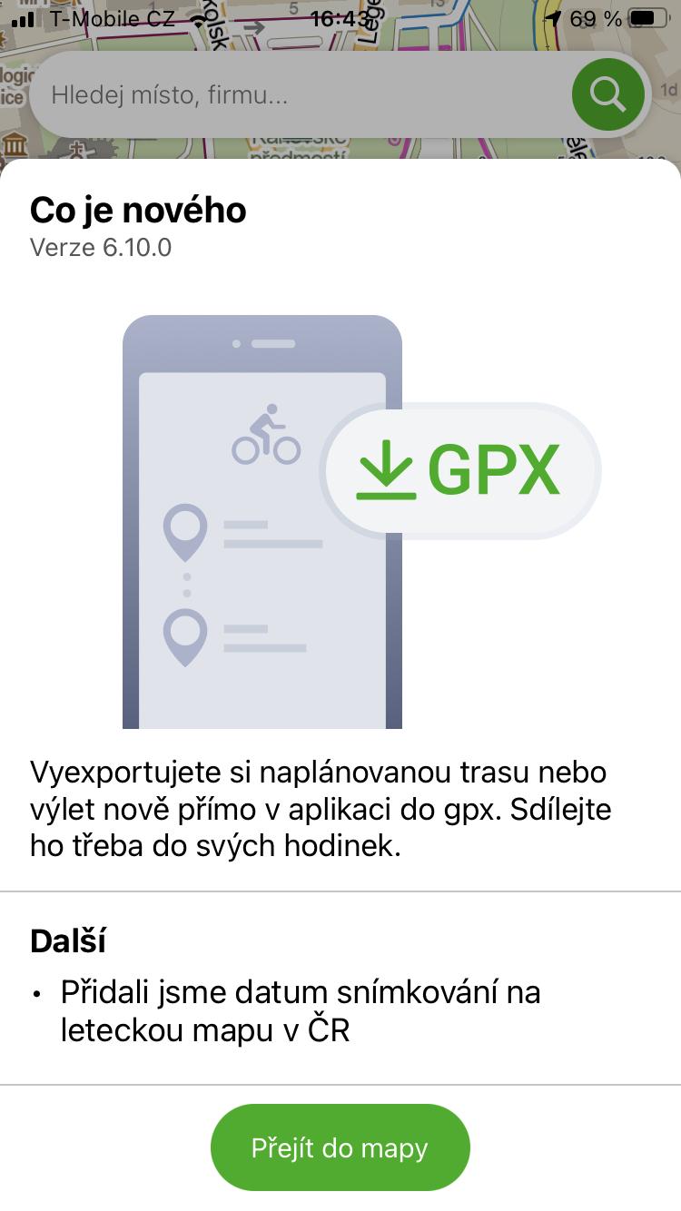 Mapy.cz podporují GPX